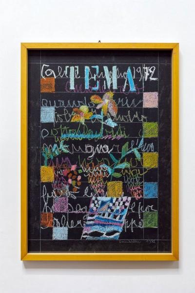 Simona Weller, Parola di Weller, 1972, pastello ad olio su carta, cm 74 x 53,5 (con cornice)