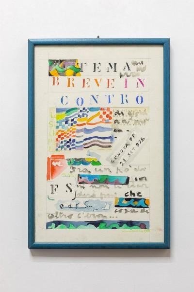 Simona Weller, Breve incontro, 1978, tecnica mista su carta, cm 61 x 41 (incorniciato)