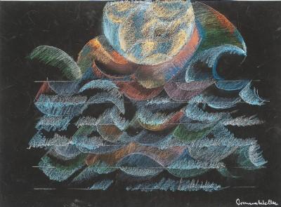 Simona Weller, Plenilunio con nebbia, 2014, pastello ad olio su carta vetrata, cm 55,7 x 70,2 (incorniciato), photo Nicola Palma