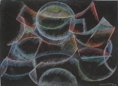 Simona Weller, La luna all'alba, 2014, pastello ad olio su carta vetrata, cm 55,7 x 70,2 (incorniciato)