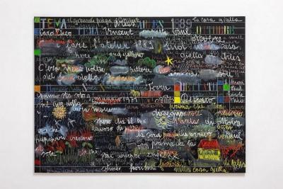 Simona Weller, Un lavagna per pensare, 2010, olio su tela, cm 156 x 210