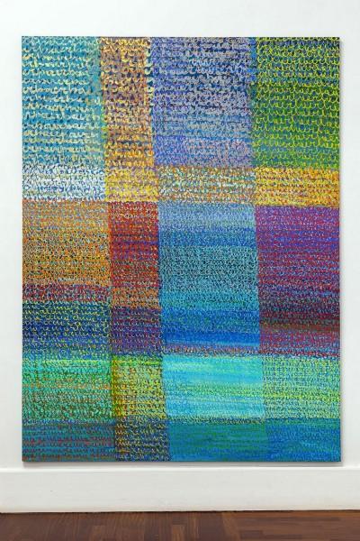 Simona Weller, L'oro, l'argento, il blu, 2007, tecnica mista su tela, cm 240 x 181
